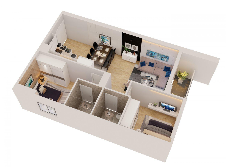 Modern cutaway apartment d model in woonkamer dexport