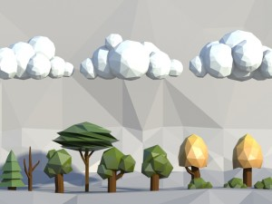 Low poly trees clouds bushes