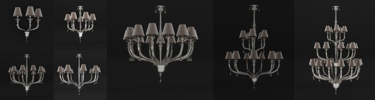 Barovier Toso 7 Objects Maine Collection 3D Model In Ceiling Lights 3DExport