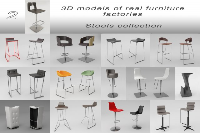 Stools collection 3D Model