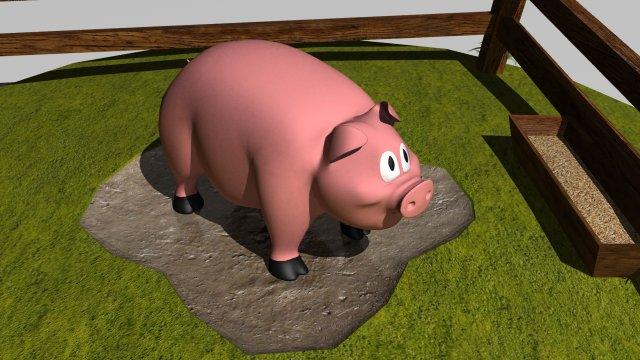 Pig in pen 3D Model