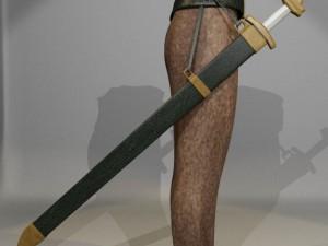 3D Model Long Sword with Belt