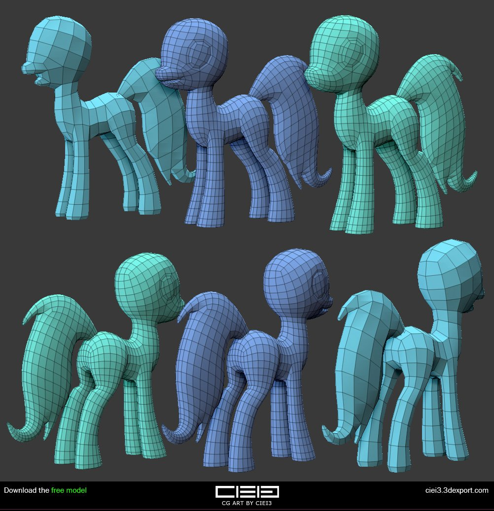 My little pony base mesh Gratis Modelo 3D in Dibujos Animados 3DExport