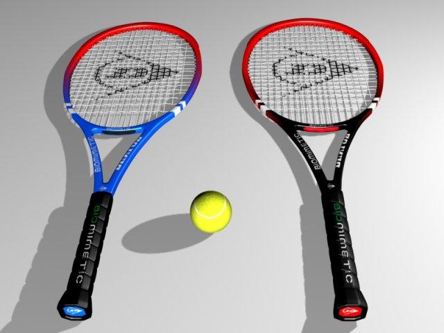 Tennis Racket and Ball 3D Model
