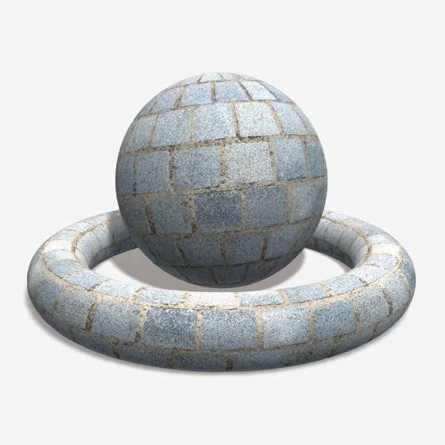 Grey Cobblestone Tile 3D Model