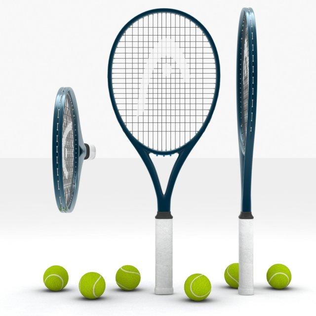 Tennis racquet and balls 3D Model