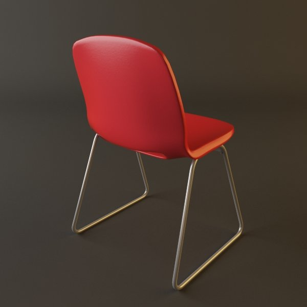 Red Plastic Armless Chair Stackable. Remove Bookmark Bookmark This Item