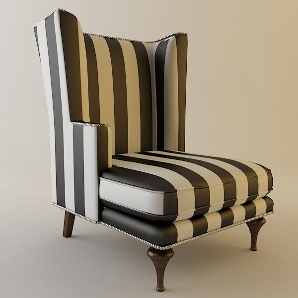 HighBack Zebra Chair 3D Model