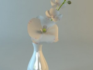 White Vase with Flowers