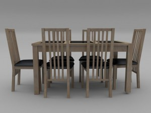 Table And Chair Set  Wood And Slate
