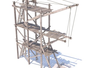 Old wooden scaffolding with handle crane
