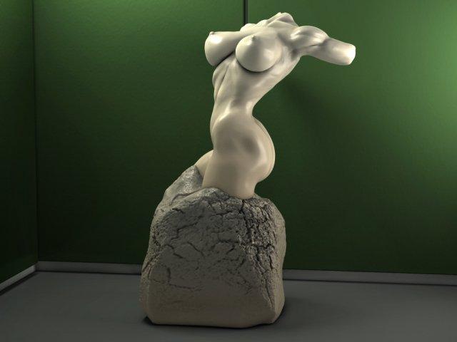 Sexy Female Torso Statue 3D Model