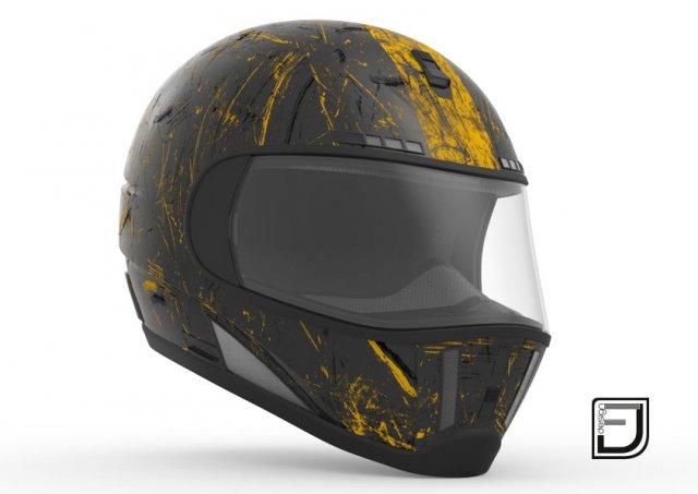 Black Grunge Helmet 3D Model