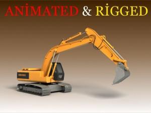 Excavator Animated  Rigged