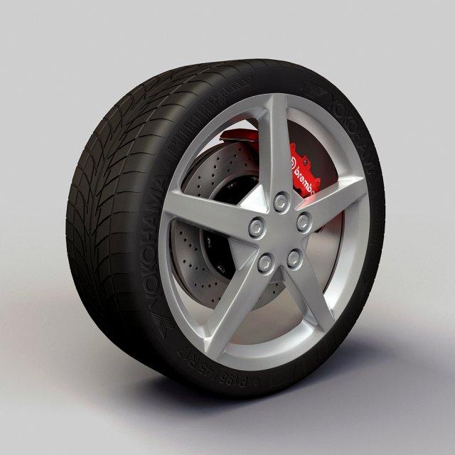 Wheel Detroit 2008 c6 rims and tire 3D Model