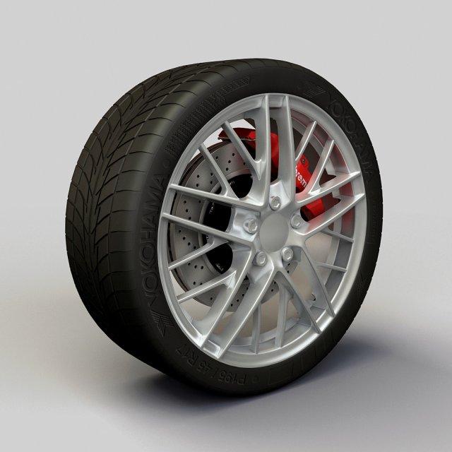 Wheel Detroit C6 rims and tire 3D Model