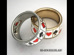 Ring with casino enamel