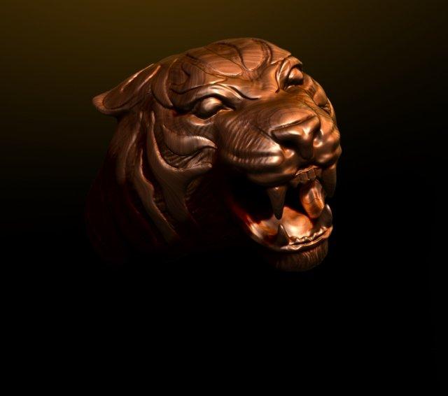Tiger head ring 3D Model