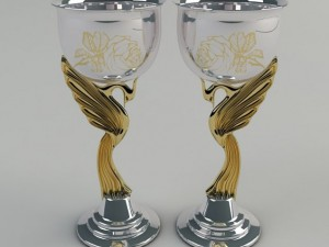 Set of wineglasses silver Swans with gilding