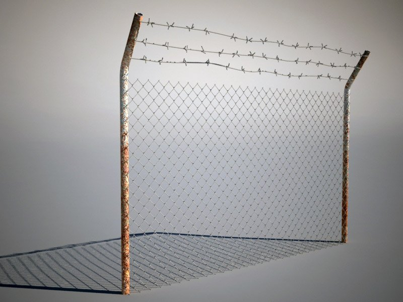 Fence with barbed wire 3D Model in Other 3DExport
