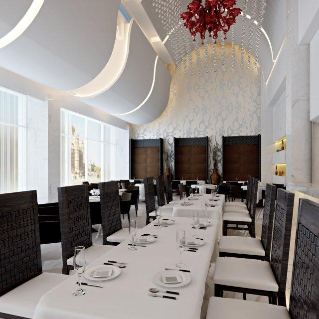 Restaurant Space 015 3D Model