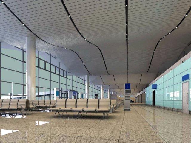 Lobby Space 092  Airport Lobby 3D Model