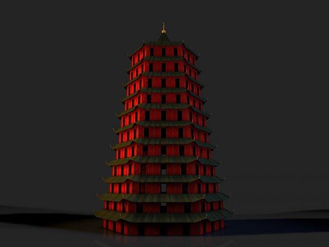 China Hangzhou Liuhe Pagoda 3D Model