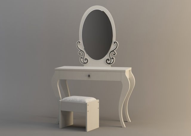 Table with mirror and chair 3D Model