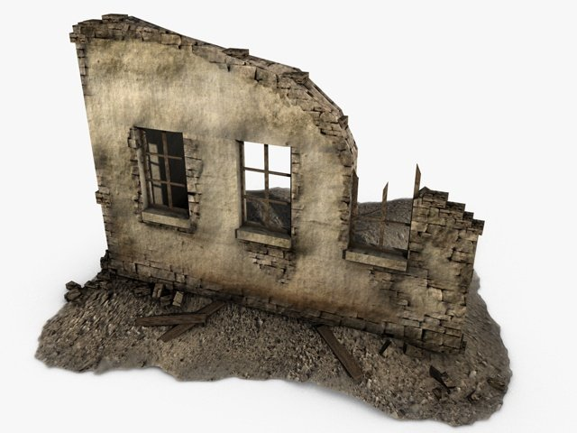 Low Poly Building Ruins 3D Model