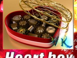 Chocolate Candy Pieces in Heart Box 8