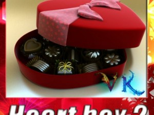 Chocolate Candy Pieces in Heart Box