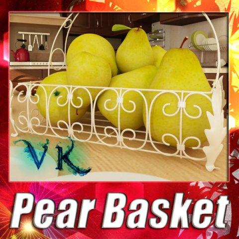 Pears in Metal Basket 3D Model