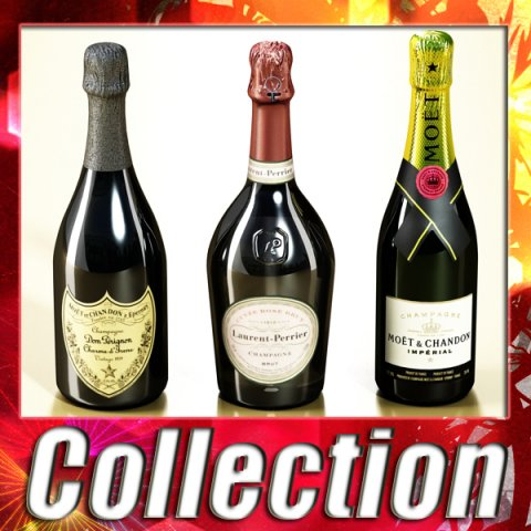3 Champagne Bottles Collection 3D Model