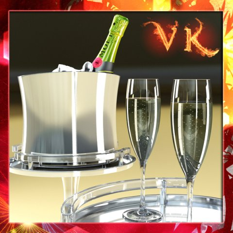 Champagne Set  Bottle Flute and Ice Bucket 3D Model