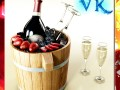 Champagne Set 2  Bottle Flute Strawberry and Wooden Ice Bucket
