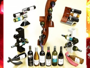 Wine Rack Collection and 6 Wine Bottles