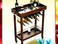 Wine Table Rack Bottles and Glasses