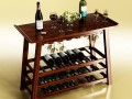 Wine Rack Table Bottles Cups and Grapes