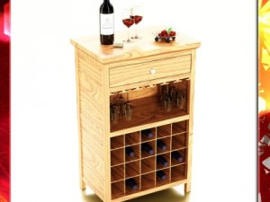 Wine Table Rack 3 Bottles Cups and Cherries