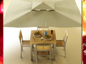 Exterior bar table chair parasol food and drink