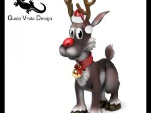 Cartoon Style Rudolph Reindeer