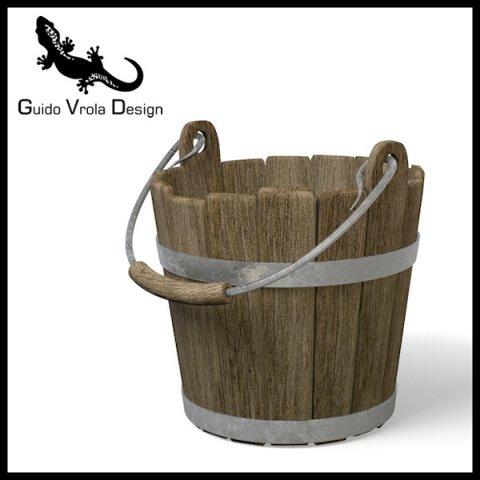 Old wood bucket 3D Model