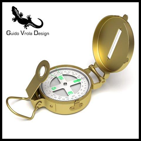 Professional brass compass 3D Model