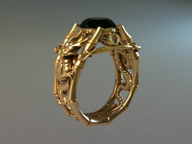 Gold Dragon Ring 3D Model
