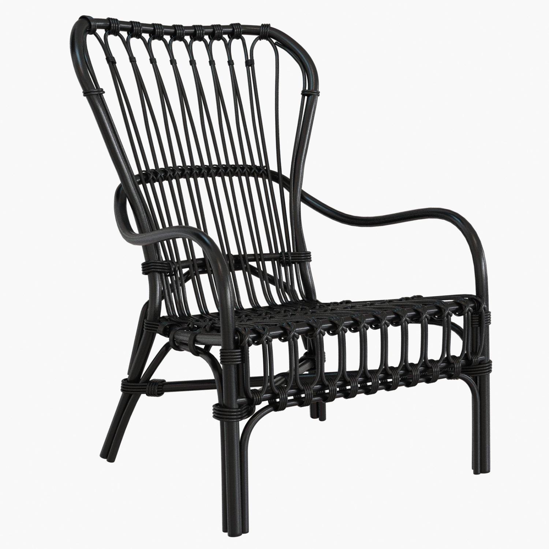 Storsele Ikea chair rattan bamboo black Modèle 3D in Chaise 3DExport