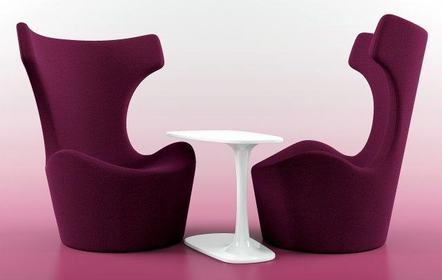 Piccola papilio  Awa Table by Naoto fukasawa 3D Model