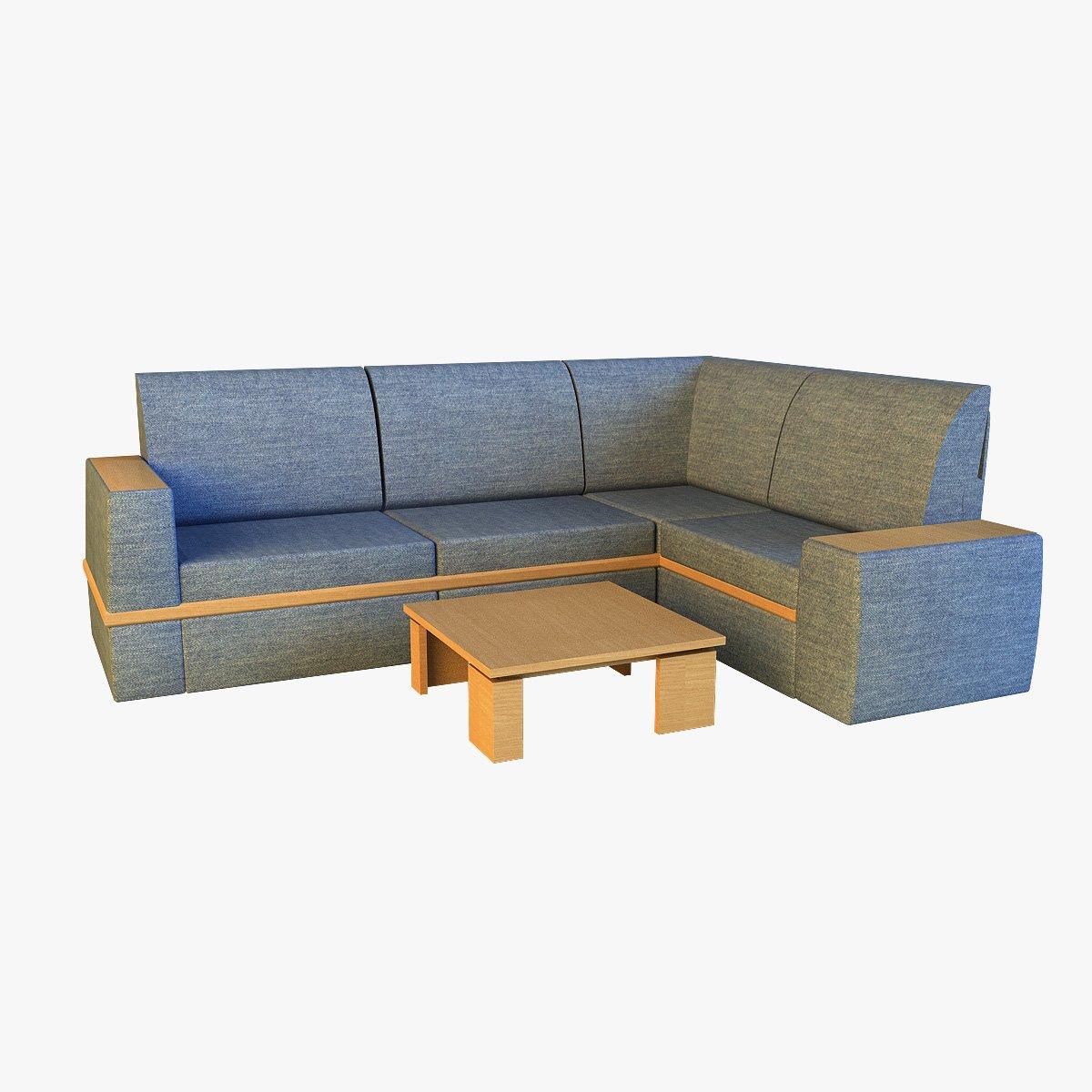 Cloth corner sofa 3D Model