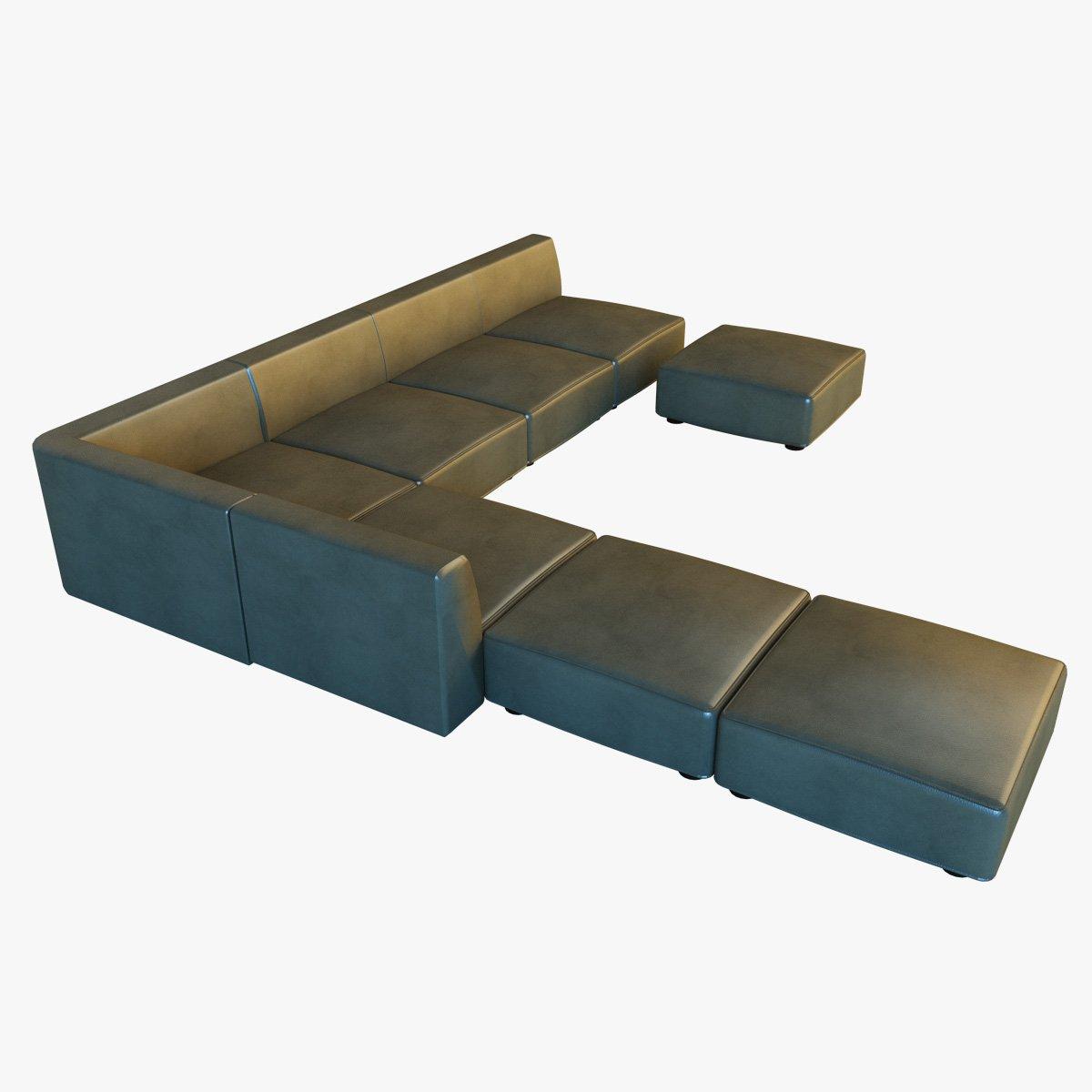 Leather corner sofa big 3D Model in Sofa 3DExport