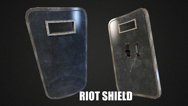 Riot Shield  Low Poly 3D Model