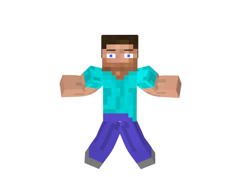 Minecraft Steve Facial Rig 3D Modell In Spielzeug 3DExport